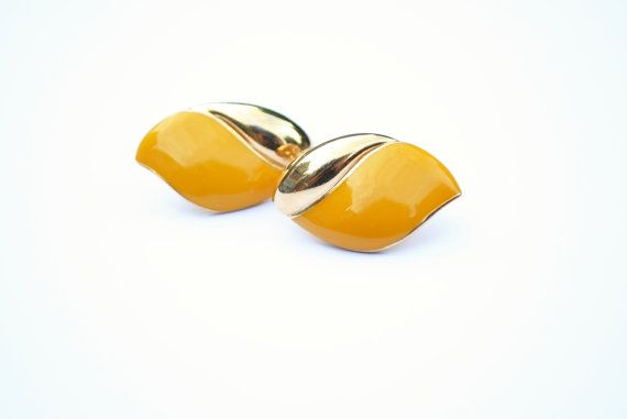Yellow Enamel Gold Plated Vintage Clip On by SoulSisters16 on Etsy