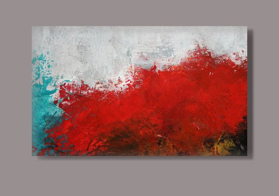 "FREE SHIPPING - Large Acrylic painting,original painting,canvas painting ,blue , gray, red, black 70x110 cm, 28"" x 44"", abstract painting"
