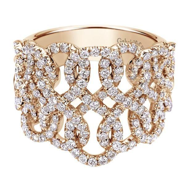 Interwoven rose gold diamond ring | Gabriel NY