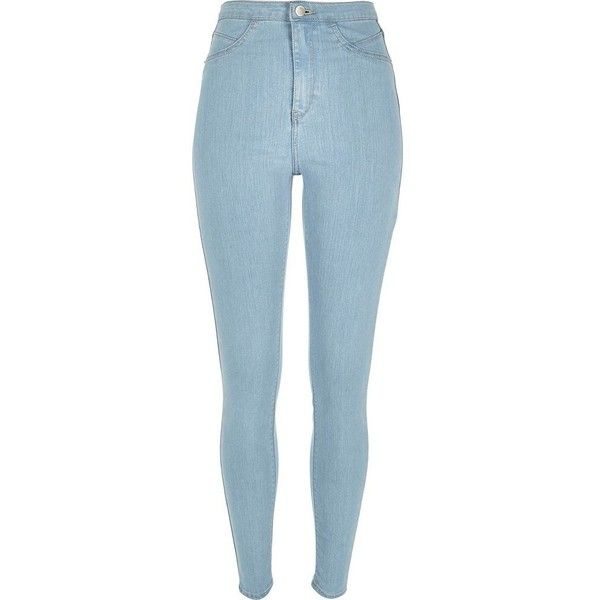 River Island Light wash high waisted Molly jeggings found on Polyvore featuring pants, leggings, jeans, jeggings, women, zipper leggings, tall jeggings, jeggings leggings, skinny jeggings and denim leggings