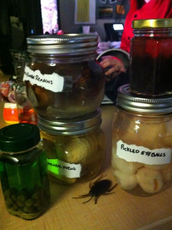 for quick and easy halloween decor just grab some old jars and food from your - Quick And Easy Halloween Decorations