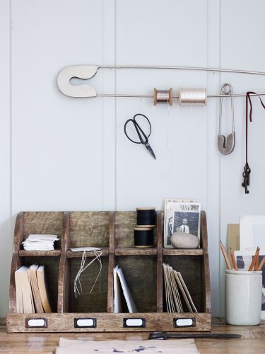 Add a lovely vintage wooden letter rack to your home office to get organised