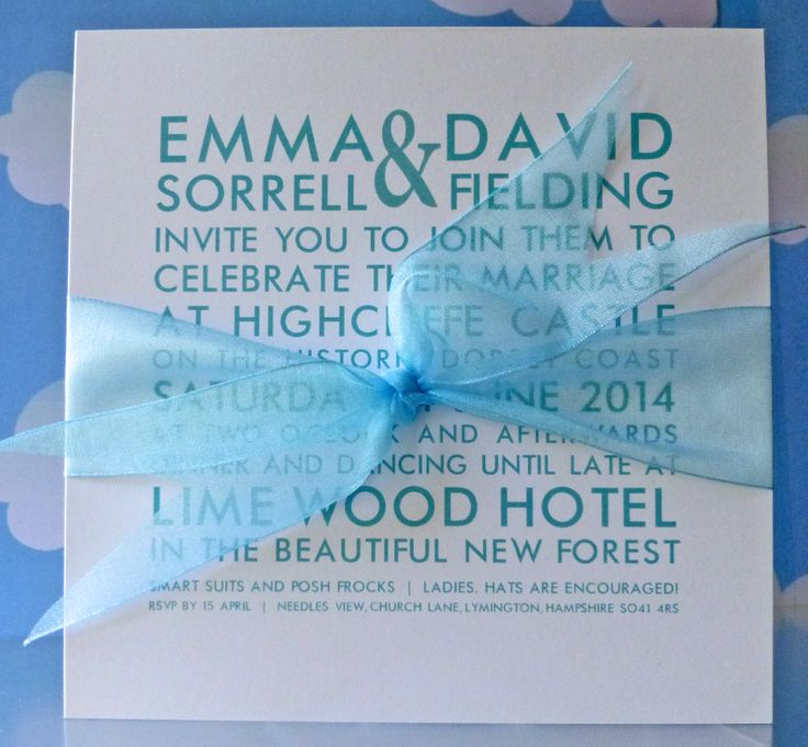 Tiffany Blue Brompton invitation - super heavy 600gsm board, with organza ribbon£3.55. www.heathermarten.co.uk