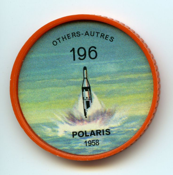 Jell-O Coin 196 - Polaris (1958) The striking power of the U.S. Navy's growing fleet of nuclear-powered submarines is based on the Lockheed Polaris fleet ballistic missile. The Polaris combines small size with almost global range by virtue of the fact that it can be carried and launched by a highly mobile submarine. Launching can take place while the submarine is submerged. Specifications: Length 28 feet. Weight 28,000 pounds. Speed Mach 10. Range 1,400 miles.
