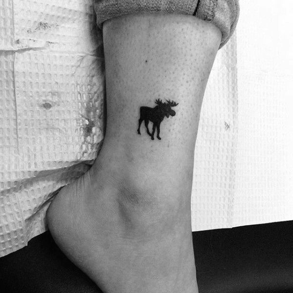 Small Moose Black Ink Tattoos For Men On Lower Leg