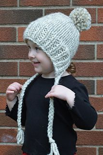 Using super bulky yarn, this adorable hat knits up in just an hour or two.