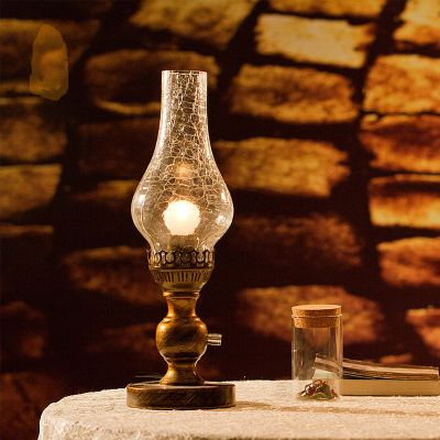 Chinese Traditional Classic Style Fashion Vintage Table Lamp Rustic Kerosene Lamp Nostalgix Dimming Bedroom Bedside Lamp
