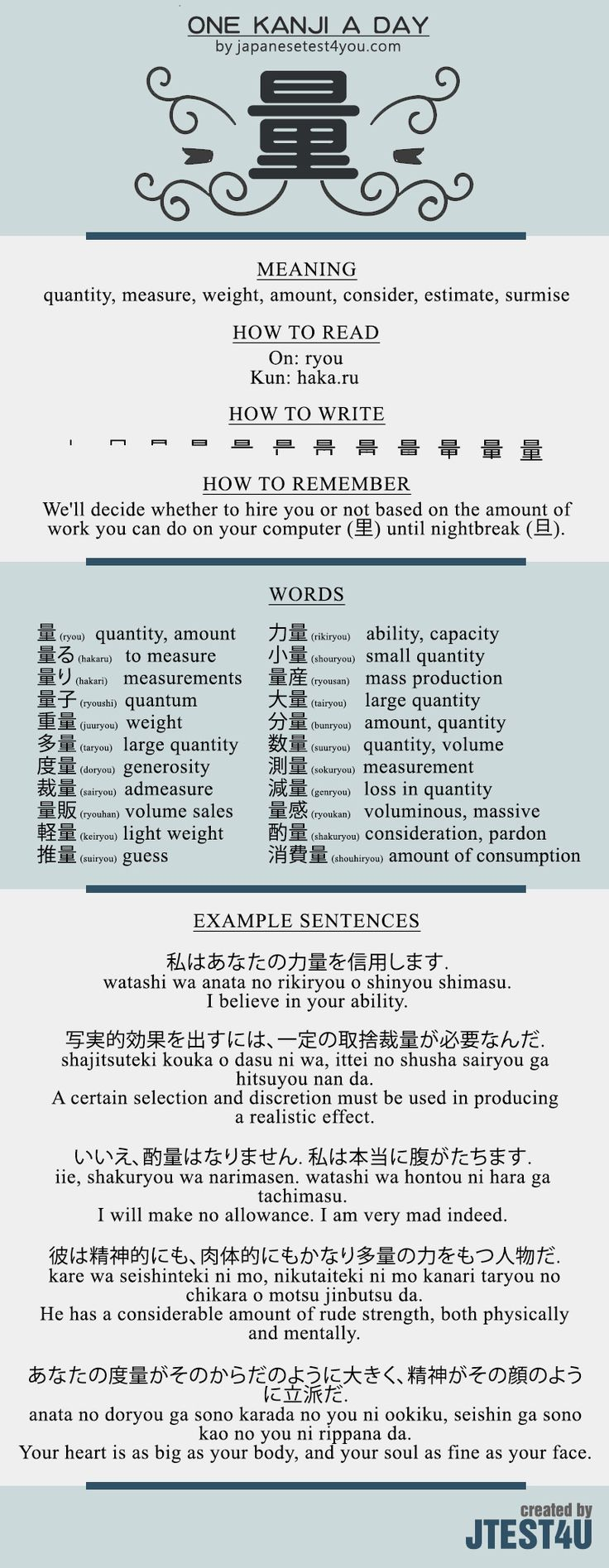 Learn one Kanji a day with infographic - 量 (ryou): http://japanesetest4you.com/learn-one-kanji-a-day-with-infographic-%e9%87%8f-ryou/