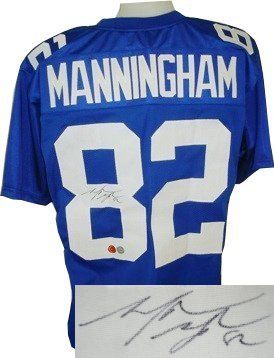 Mario Manningham signed New York Giants Blue Prostyle Jersey- Manningham Hologram . $136.80. Mario Manningham was selected in the third round (95th overall) of the 2008 NFL Draft by the New York Giants. Manningham kicked off the 2009 season by catching three passes for 58 yards and a touchdown en route to the Giants' 23-17 win over the Washington Redskins. He followed this up by catching 10 passes for 150 yards and a juggling sliding catch for a touchdown in the Giants' 33...