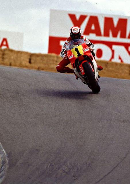 Wayne Rainey @ Laguna Seca 1991. Doing a wheelie through the Corkscrew !! before Rainey Curve.