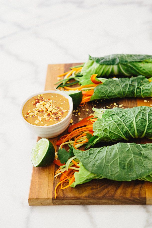 CABBAGE WRAPS WITH SPICY PEANUT DIPPING SAUCE, VEGAN