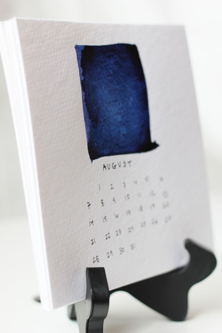 A super simple watercolor desktop calendar from HomemadeBanana.