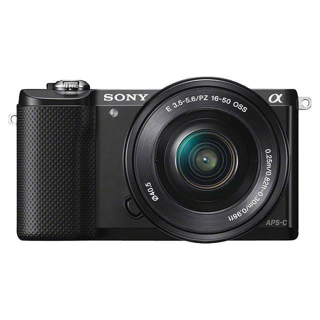"""BuySony A5000 Compact System Camera with 16-50mm Lens, HD 1080p, 20.1MP, Wi-Fi, 3"""" Tilting LCD Screen, Black Online at johnlewis.com"""