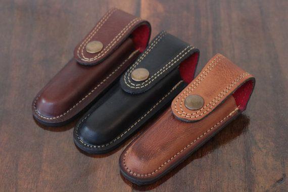 Freeshipping Folding Pocket Knife Multi Tool Sheath Pouch Case Belt Loop Genuine Leather Basketweave
