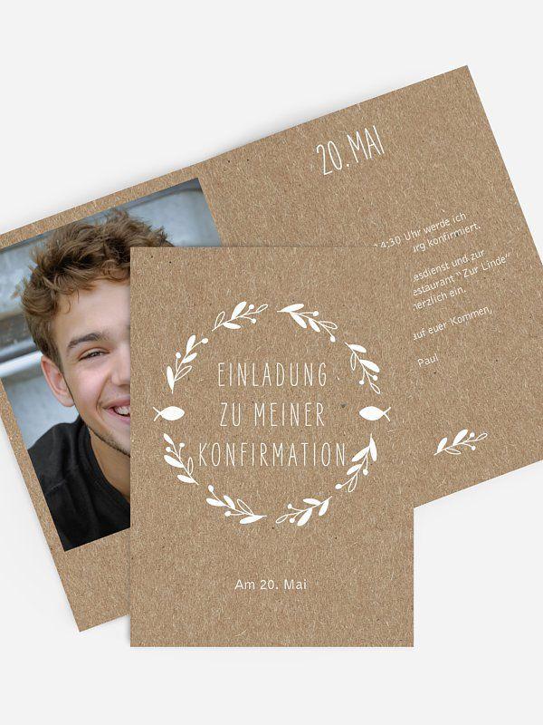 "konfirmationseinladung ""floral wreath kraftpapier"