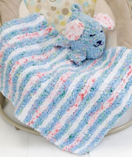 Free Knitting Pattern For Baby Blanket With Hearts : Baby Blankie & Puppy Pal Knitting Pattern Red Heart Baby blankets P...