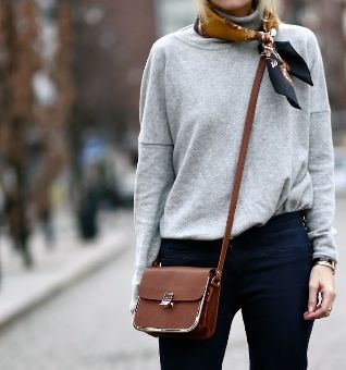 simple fashion, style, jeans, satchel, scarf, grey jumper, autumn