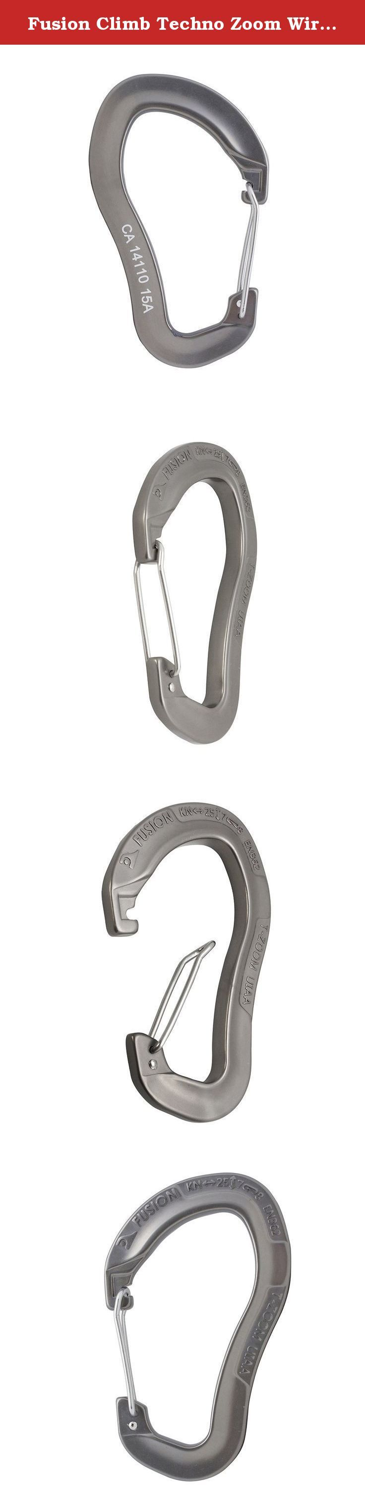 Fusion Climb Techno Zoom Wire Gate Ergonomic Carabiner Gray. Fusion Climb Techno Zoom Wire Gate Ergonomic Carabiner Ultra-light wire gate carabiner weights only 1.5oz. It has a cold forged contoured ergonomic body with a wire gate which provides easy handling and smooth clipping. Ideal for sport racks or any application where weight matters. This key-nose, ultra-light, wire gate carabiner weights at only 1.5oz and has a strength of 25KN. Various Colors .