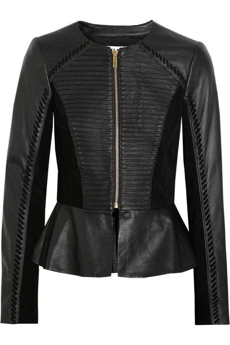 ALICE by Temperley | Giovanni suede-paneled leather peplum jacket