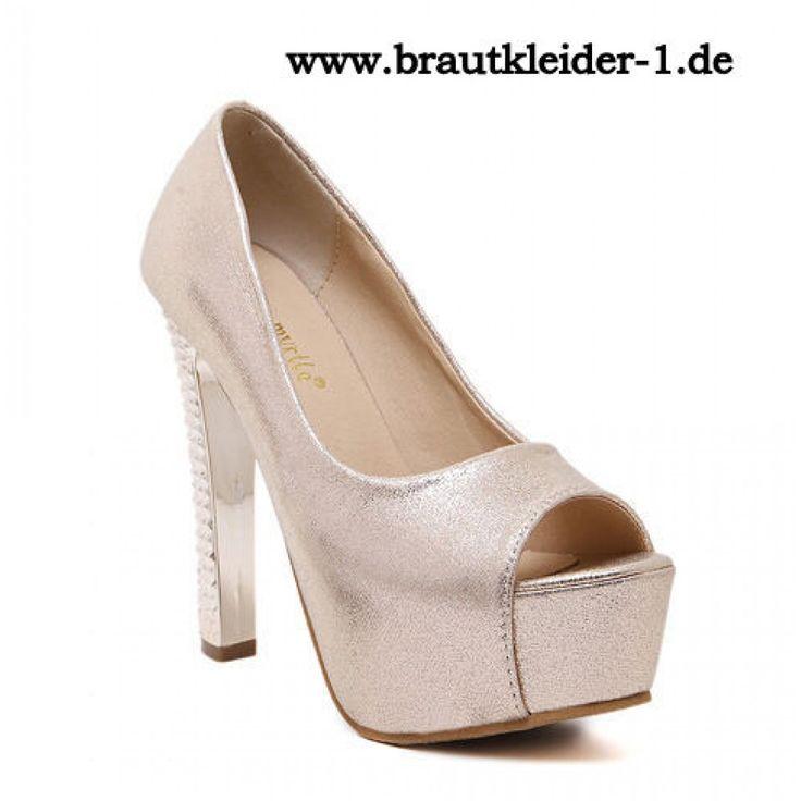 Sexy Damen Schuhe Pumps für den Standesamt Gold
