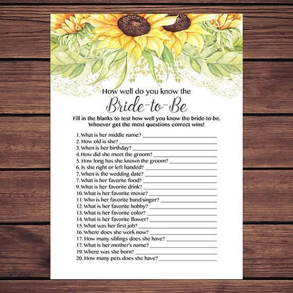 How Well Do You Know The Bride Shower Game, Sunflowers Who