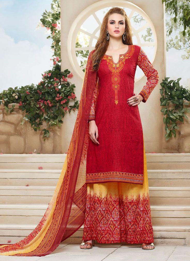 #Red #Printed #Palazzo #Salwar #Kameez #nikvik  #usa  #australia  #pakistanisuit…