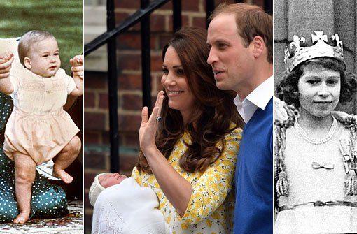 Drei Generationen von Windsors: Queen Elizabeth II. (rechts), ihr Enkel William (links) und ihre jüngste Urenkelin. Foto: dpa http://www.stuttgarter-zeitung.de/inhalt.das-royal-baby-ist-da-windsors-in-den-kinderschuhen.59fdca2e-8d1c-4ec7-bad0-90dc28d1d831.html