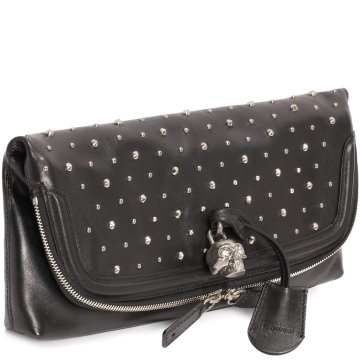 Shop Women's Studded Leather Skull Padlock Clutch from the official online  store of iconic fashion designer Alexander McQueen.