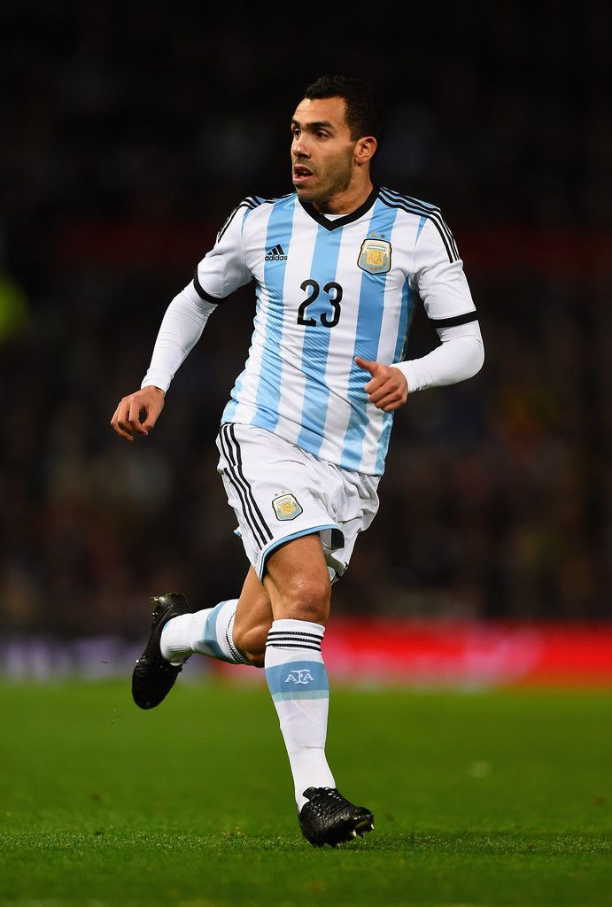 Carlos Tevez of Argentina in action during the International Friendly match between Argentina and Portugal at Old Trafford on November 18, 2014 in Manchester, England.