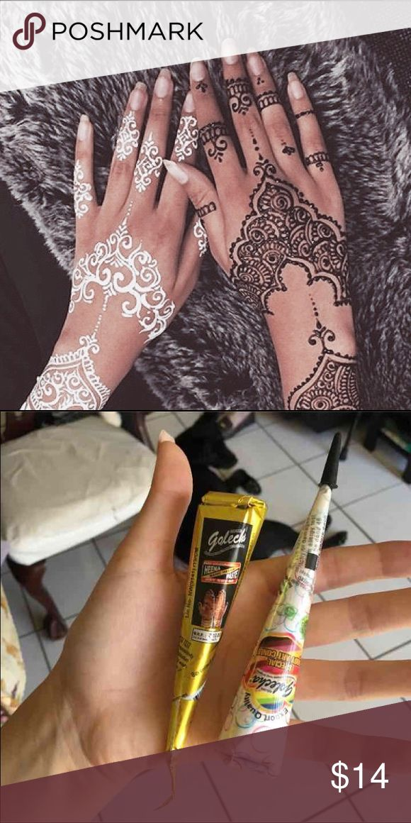 One black one white henna cone White Henna is not like regular henna does not smudges into the skin instead creates a layer of paste over the skin and stays on the skin for couple of hours to a Day or until you wash it off.- white henna is usually used for Indian brides on there weddings.   Black or brown henna lasts up to two-three weeks depending where you put it.   Keep refrigerated when not in use :) PINK Victoria's Secret Makeup