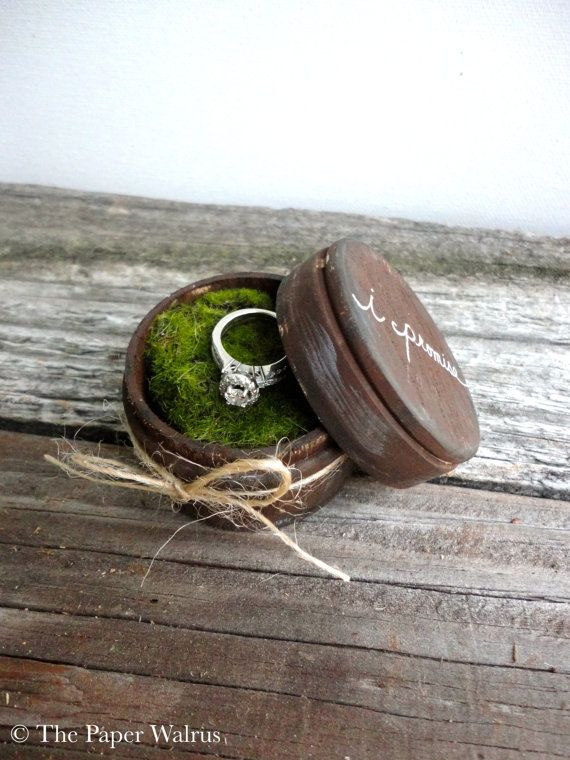 I need to keep on the lookout for a little container like this so I can have my artistic MIL do something cute for me. Rustic Ring Bearer Pillow Box  Rustic Weddings by ThePaperWalrus, $19.99.