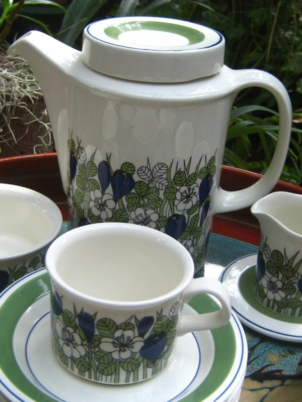 Arabia Finland Faenza Series coffee set Krokus pattern -