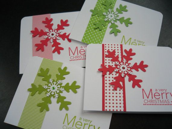 Handmade Christmas Cards Set of 8 Snowflakes by apaperaffaire, $17.50