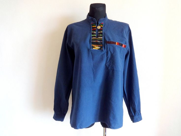 Vintage Dark Blue Ethnic Shirt Unisex Folk Tunic Top Tribal Shirt Cotton Clothing XL One Button Shirt  Front Pocket Men's Women's Clothing by Vintageby2sisters on Etsy