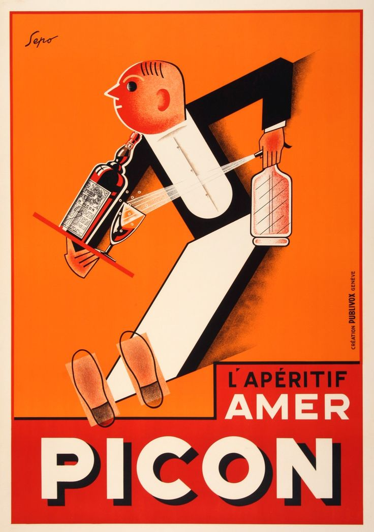 Severo Pozzati, a graphic artist known as Sepo, created this bright art deco vintage poster in the 1930s. It advertises an alcoholic aperitif with a strong orange-flavored base which also contains gentian, quinquina, and caramel. I was first produced by the French distiller Gaetan Picon. It is technically a type of bitters that is served with seltzer or beer. The poster depicts a waiter rushing to serve a glass of Picon with a spritz of soda water