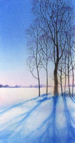 WOOD SHADOWS watercolor landscape painting, original painting by artist Barbara Fox | DailyPainters.com