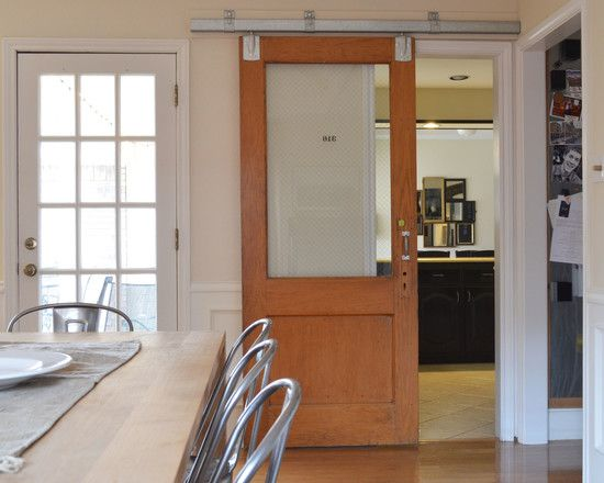 Door Eclectic Dining Room With Cool Barn Doors Sliding Window Also Wooden Table