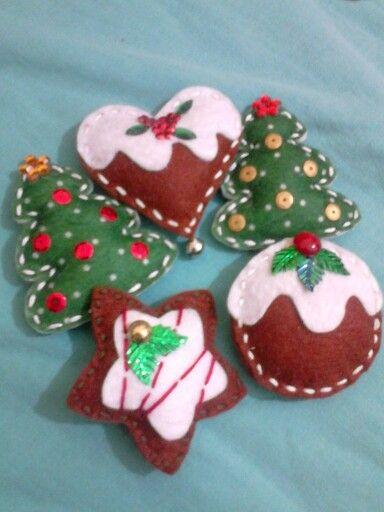 Felt christmas ornaments                                                                                                                                                                                 Mais