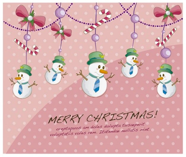 Free vector Christmas card with hanging snowmen #33795