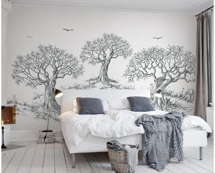 charcoal tree drawing mural living jungle forest wallmur bedroom cafe dimensions enter help
