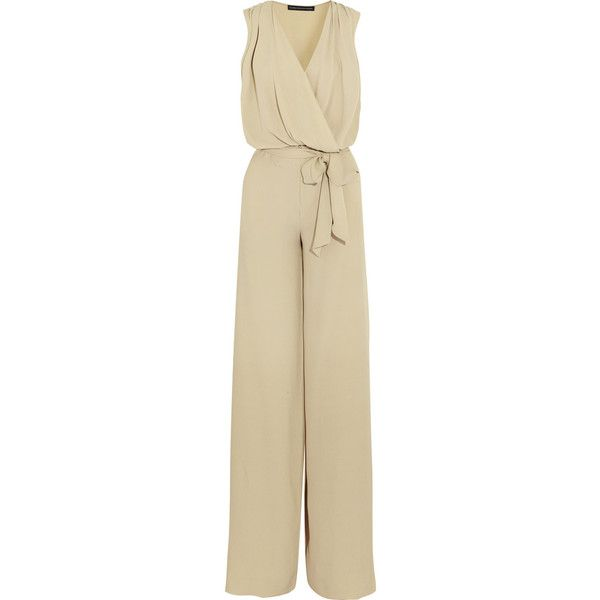 Maria Grachvogel Harlow draped silk-crepe jumpsuit (4.330 VEF) ❤ liked on Polyvore featuring jumpsuits, beige, jumpsuits & rompers, brown jumpsuit, wrap jumpsuit, draped jumpsuit e loose jumpsuit