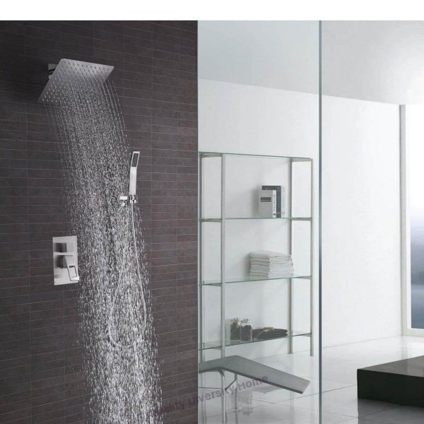 Rain Shower Faucet Set Brushed Nickel 10 Inch Square Shower Head