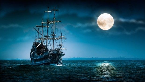 A0 Pirate Ship At Sea By Moonlight Wall Art Canvas Picture Print A1