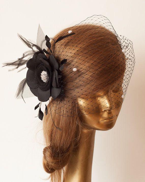 WEDDING BRIDAL BLACK BIRDCAGE VEIL with Black Flower and Rhinestone Brooch by ancoraboutique, $105.00