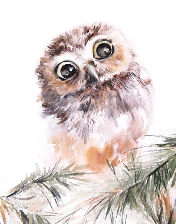 Owl art print, owl with big eyes watercolor print, woodland wall art print, owl watercolor painting art
