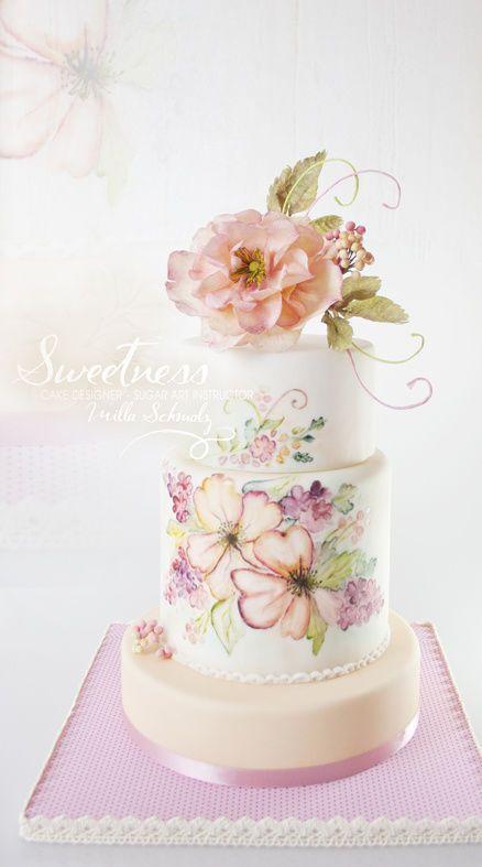 """""""Summer Blush"""" handpainted Cake"""