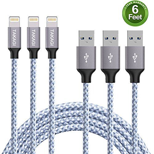 TAKAGI Lightning Cable iPhone Cable Nylon Braided Lightning Connector to Data Syncing Cord