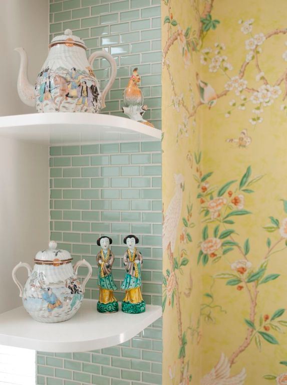 Kitchen with Lewis Hyman 13.8 in. W White MDF Profile Floating Corner Shelf, Built-in bookshelf, Ceramic Tile