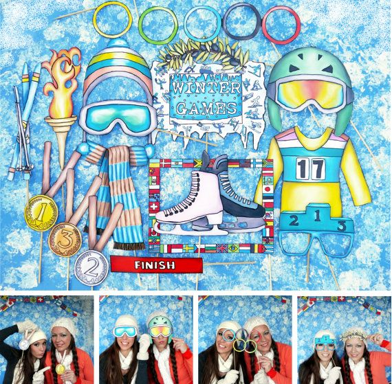 Olympic Inspired winter games photo booth props  perfect for