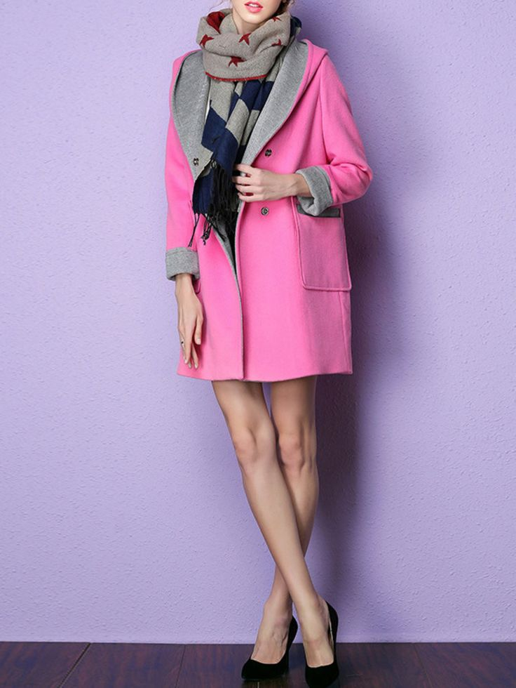 Fuchsia Paneled Wool Long Sleeve Coat